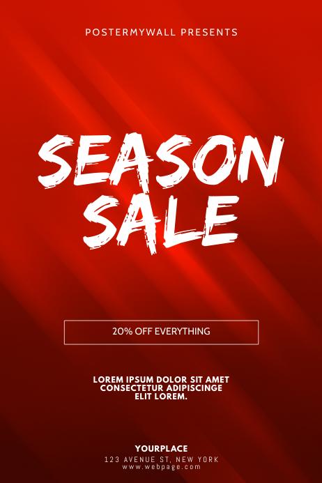 Red Season Sale Flyer Design Template Plakat