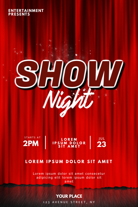 Red Show Flyer Design Template