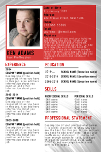Elegant Red Simple Free Cv Resume Poster Flyer Template