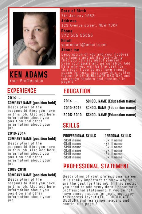 copy of red simple free cv resume poster flyer template