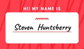 Red Simple Nametag Etiqueta template