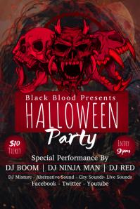 Red Skulls Halloween Poster