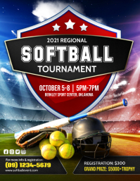 Red Softball Tournament Flyer Template