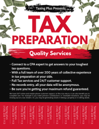 Red Tax Prep Service Advert Flyer with Pull T template