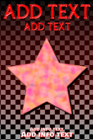 red text and red shining star