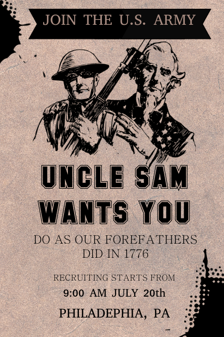 red uncle sam army poster template postermywall