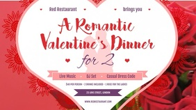 Red Valentine Dinner Digital Display Video
