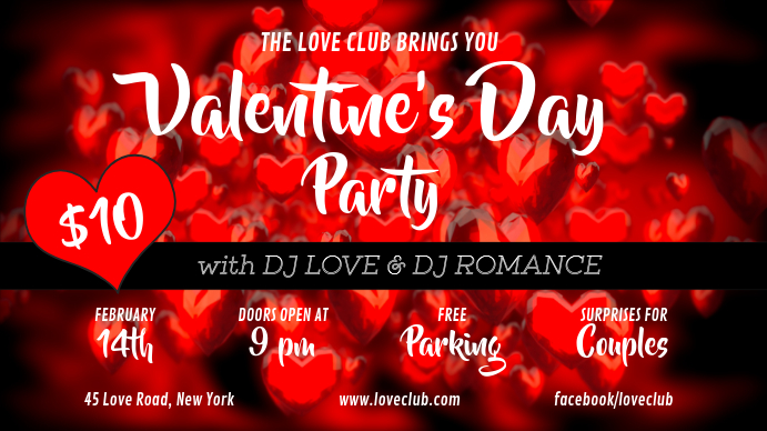 Red Valentine Party Digital Display template