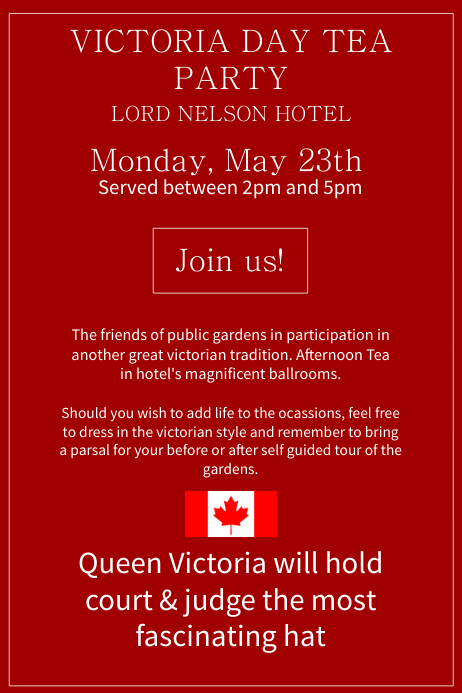 Red Victoria Day Tea Party Poster Template Cartaz
