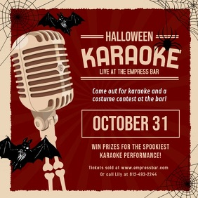 Red Vintage Halloween Karaoke Video Invite