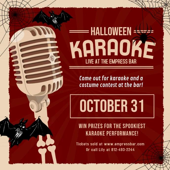 Red Vintage Halloween Karaoke Video Invite