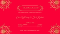 Red Wedding Invitation Card Design template