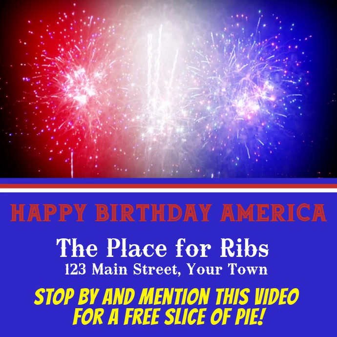Red White & Blue Fireworks Ad Persegi (1:1) template