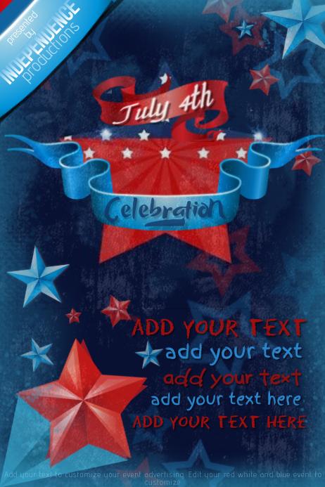 Red White Blue American USA Stars Stripes Ribbons Grunge
