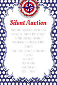 Red White Blue Silent Auction Fundraiser Dinner Reception