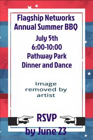 red White Blue Summer BBQ Company Picnic Invitation Flyer