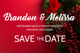 Red Winter Christmas Wedding Announcement Poster template
