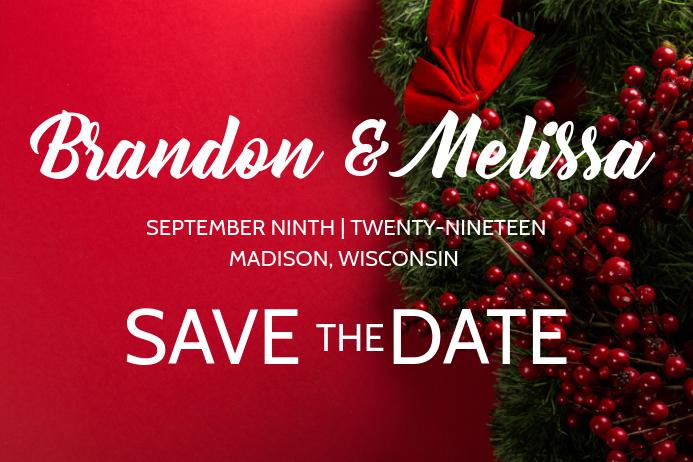Red Winter Christmas Wedding Announcement Plakat template