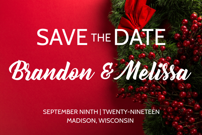 Red Winter Save The Date Invite Poster template