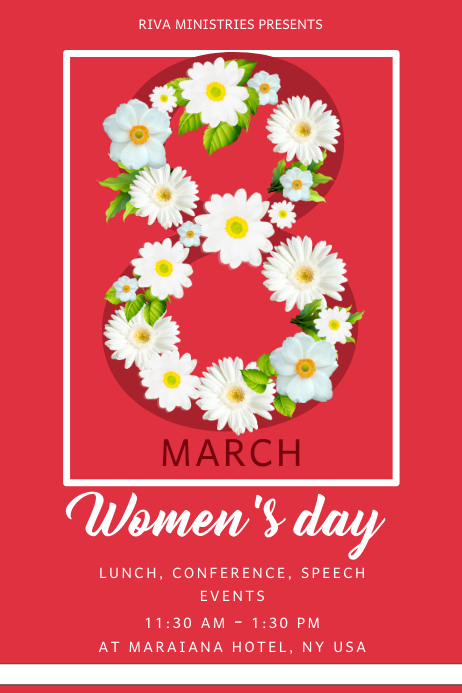 Red Women's Day Conference Flyer Template Plakat