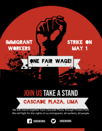 Red Worker's Rights Poster Template Flyer (US Letter)