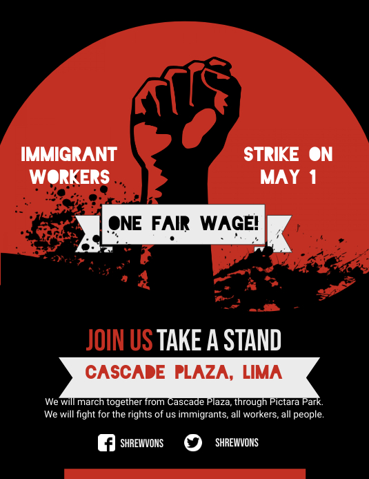 Red Worker's Rights Poster Template Folheto (US Letter)