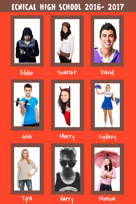 Red Yearbook Collage Page Template Postermywall