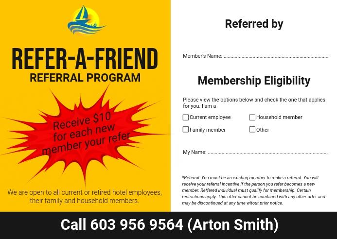 Referral Card Program Poskaart template