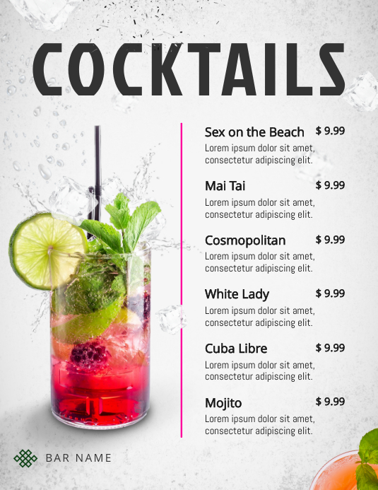 Refreshing Cocktails Menu Template Рекламная листовка (US Letter)