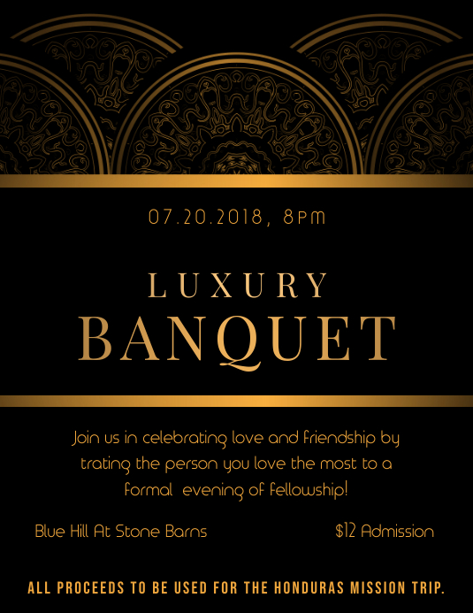 Regal Black Banquet Party Invitation Flyer Template Postermywall