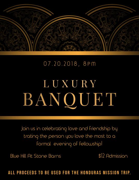 Regal Black Banquet Party Invitation Flyer Template