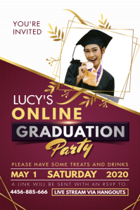 Regal Maroon Online Graduation Party Poster