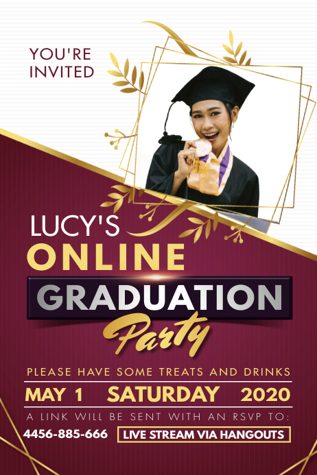 Regal Maroon Online Graduation Party Poster Póster template