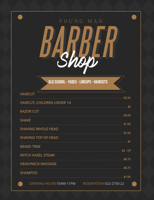 Regal Men's Barber Shop Price List Template