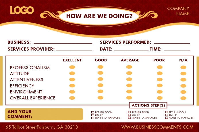 Regal Red Hotel Comment Card Etiket template