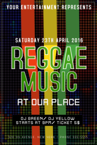 reggae music night party flyer template
