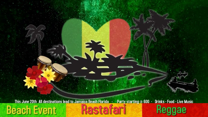 Reggae/Rastafari Event/Jamaica/beach party Vídeo de capa do Facebook (16:9) template