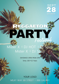 Reggaeton Latin Salsa Kizomba Urban Party ad A4 template