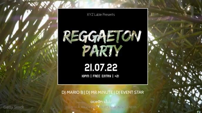 Reggaeton Party Beach Club Event Sun Palms Ad Digitalt display (16:9) template