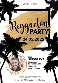 Reggaeton Party Concert Palms Gold Flyer Ad