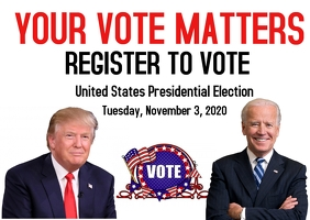 register to vote presidential election 2020 Pocztówka template