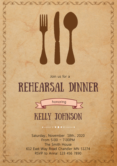 Rehearsal dinner party invitation A6 template