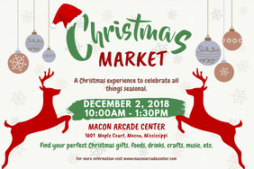 Reindeers Christmas Market Advertisement Poster