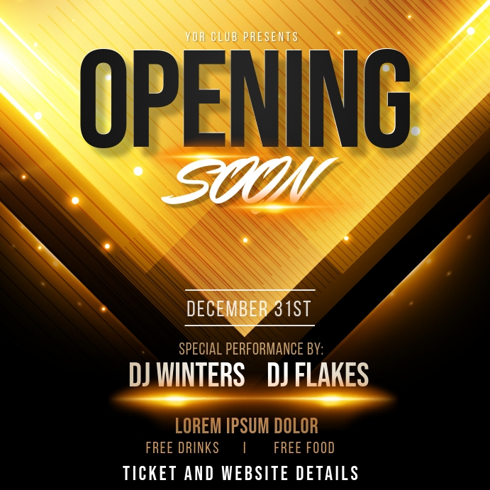 relaunch,Birthday flyer,opening soon Carré (1:1) template