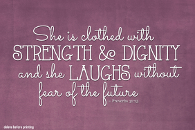 Religious Bible Verse Proverbs Strength and Dignity Poster