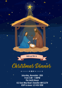 Religious Nativity christmas invitation A6 template
