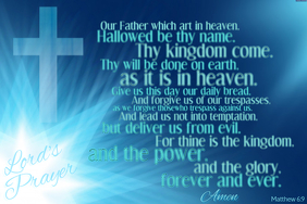 Religious Cross Lord's Prayer Wall Art Gift Poster Decor