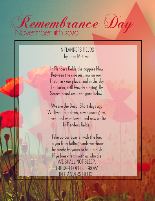 Remembrance Day 2020 Pamflet (Letter AS) template