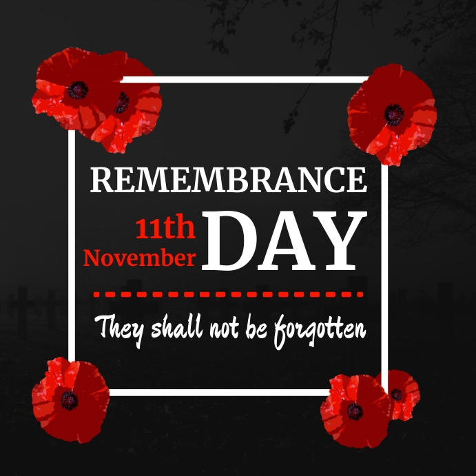 remembrance day instagram post white and red template