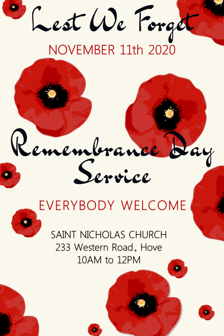 Remembrance Day Poster Template โปสเตอร์